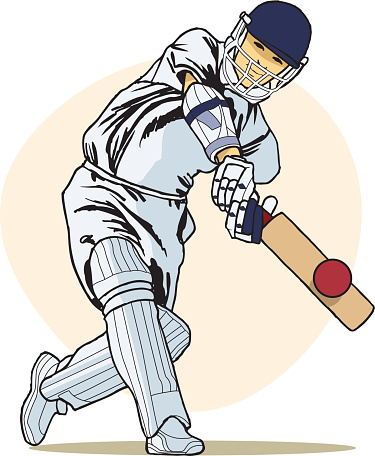 Cricket players in action clipart.