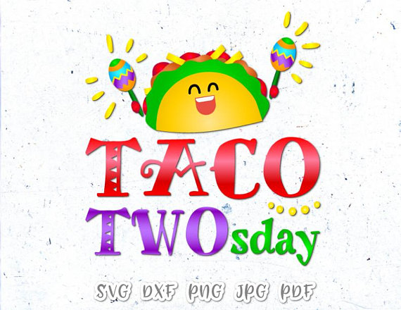 Taco TWOsday SVG Files for Cricut Taco 2nd Birthday Invitation Vector  Clipart.