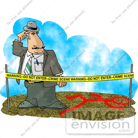 Crime Scene Investigator (CSI) Man Behind Warning Tape, Looking at a.