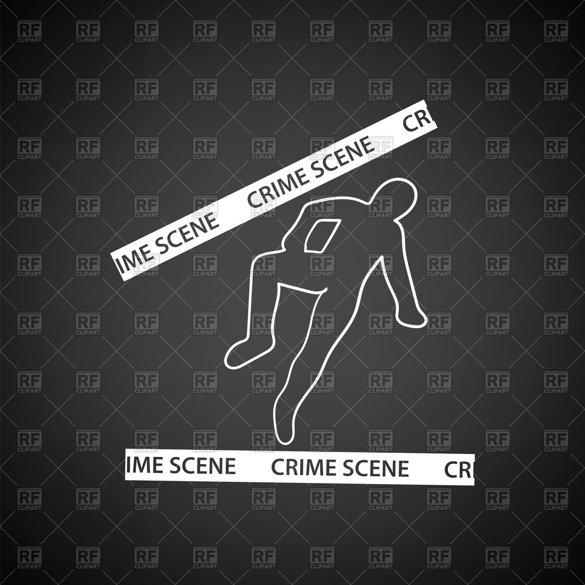 Crime scene black background, outline of corpse Stock Vector Image.