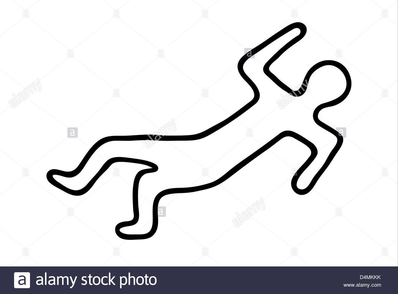 At Clipart Crime Scene Body Outline Chalk Of A Dead D4MKKK.