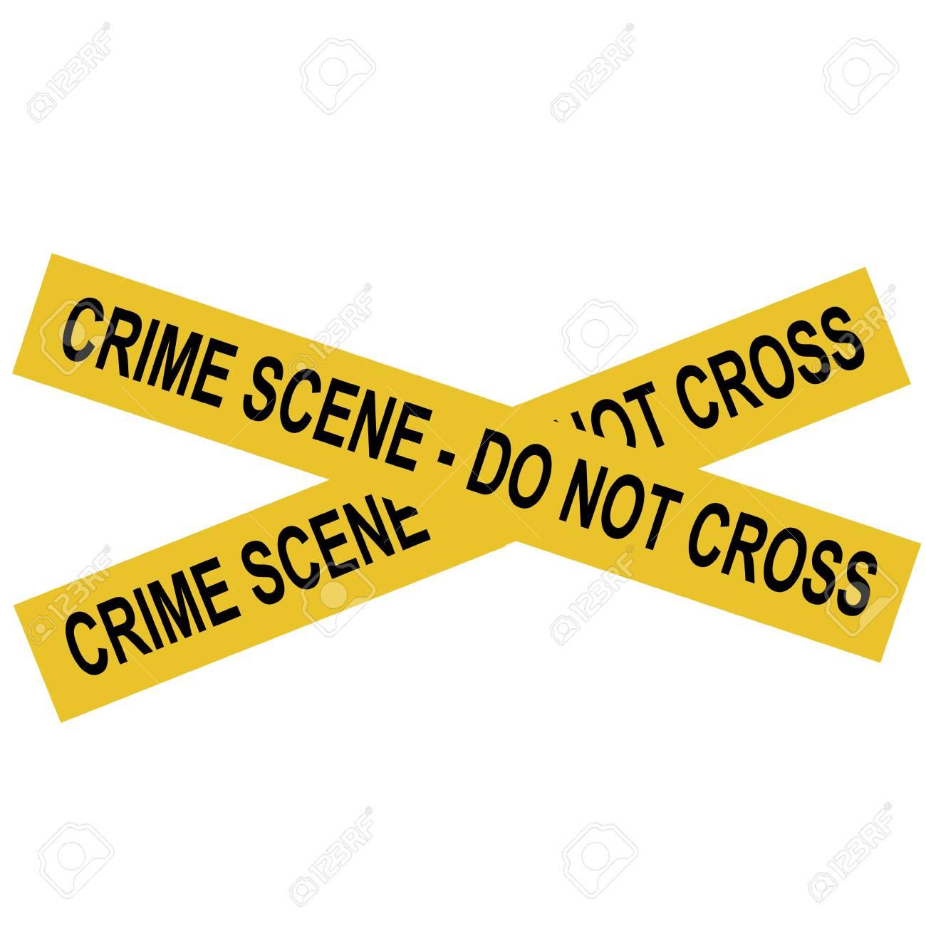 Vector illustration yellow police crime scene danger tape. Do...