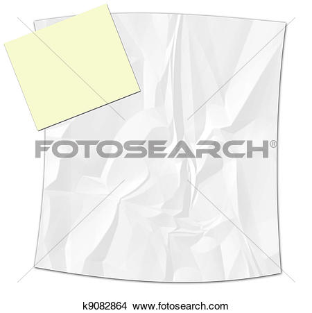 Drawings of Crinkled paper with yellow note pap k9082864.