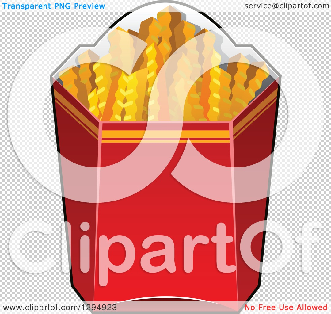 Clipart of a Box of Crinkle French Fries.
