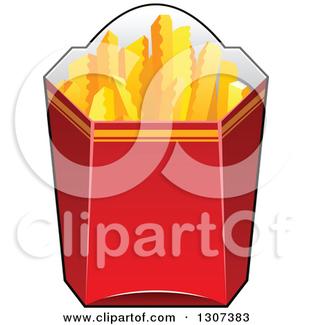 Clipart of a Cartoon Red Box of Crinkle French Fries.