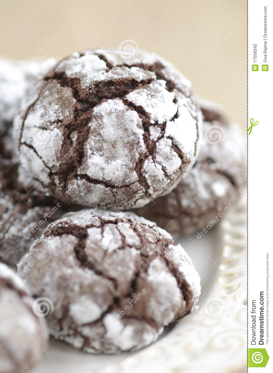 Chokolate Crinkles Cookies Stock Photography.