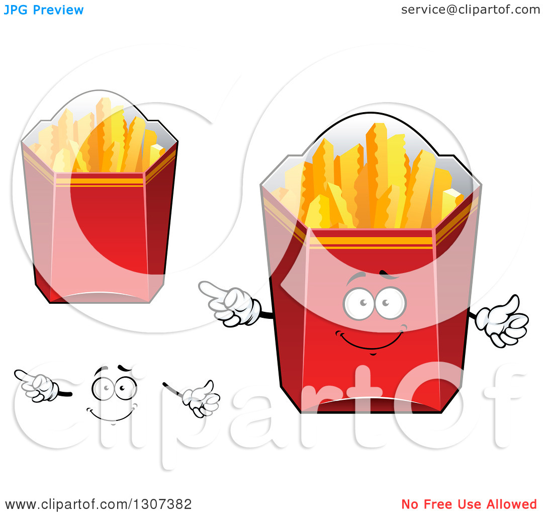 Clipart of a Cartoon Face, Hands and Red Boxes of Crinkle French.
