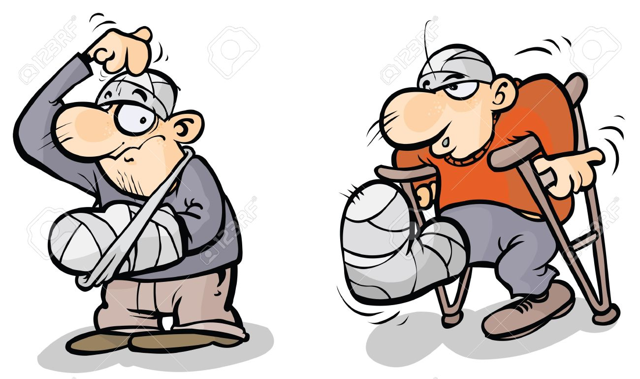 Two Cartoon Men In Plaster Royalty Free Cliparts, Vectors, And.
