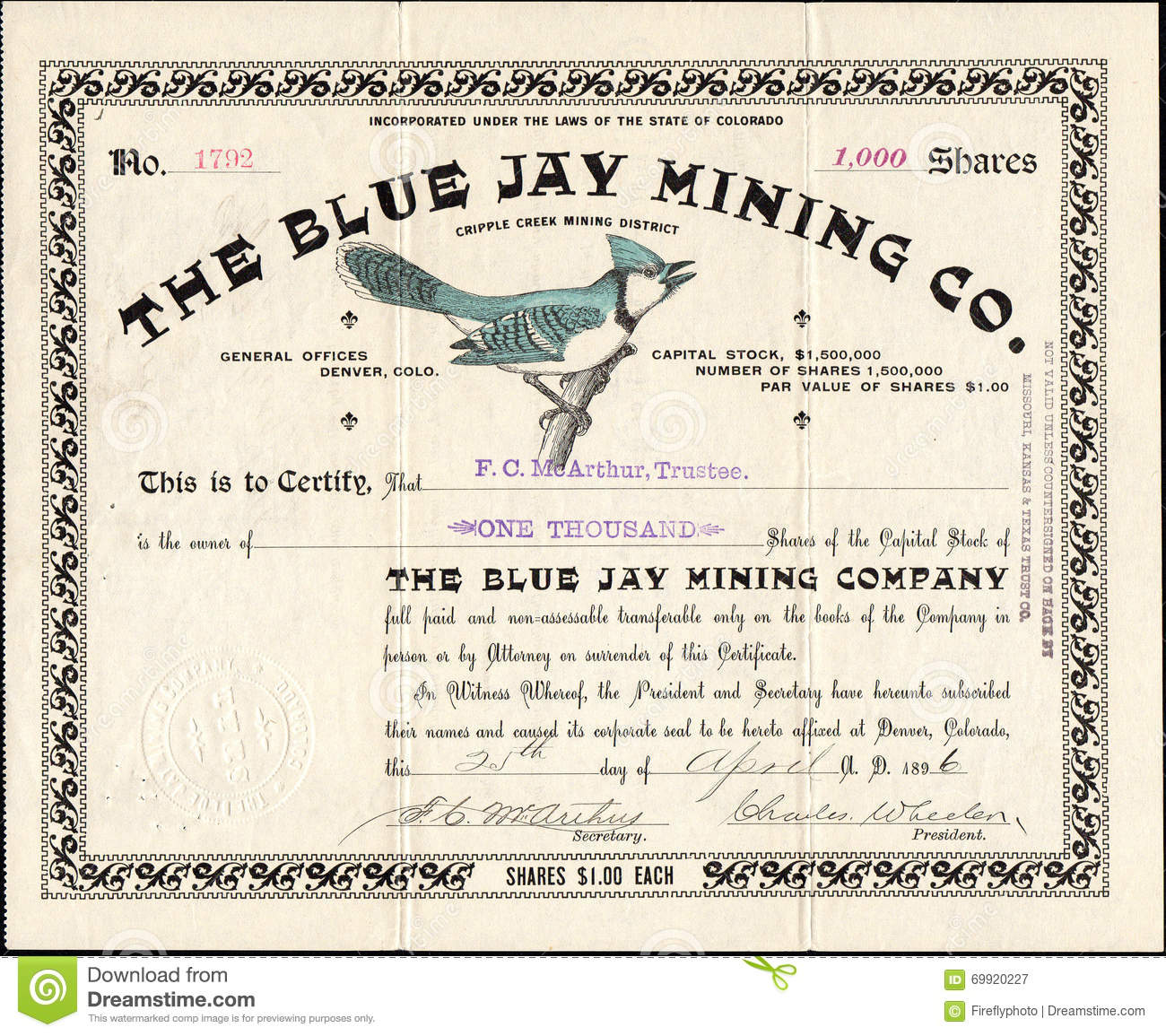 1896 THE BLUE JAY MINING COMPANY Stock Certificate.