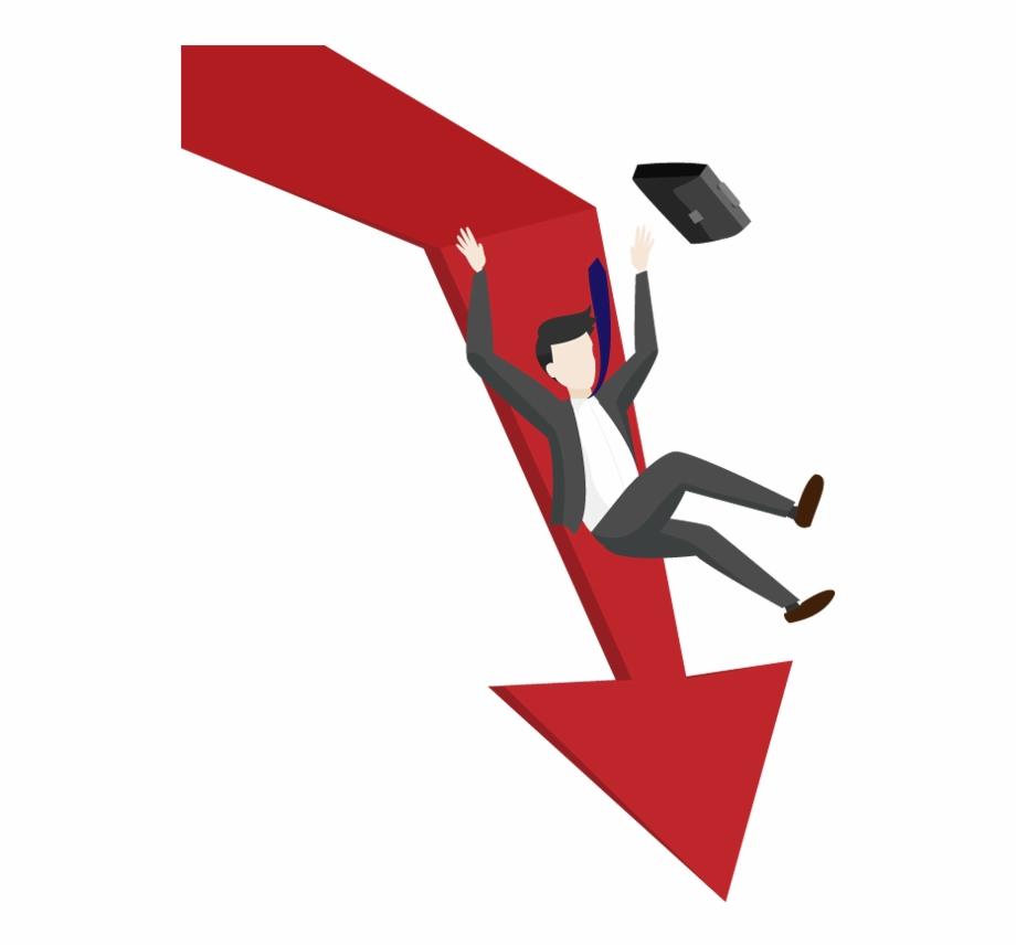 Cartoon Businessman Falls From The Arrow.