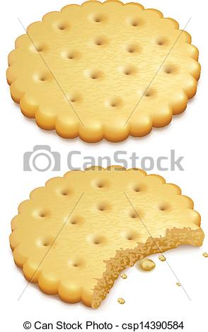 Vector of crispy cookies isolated on white.