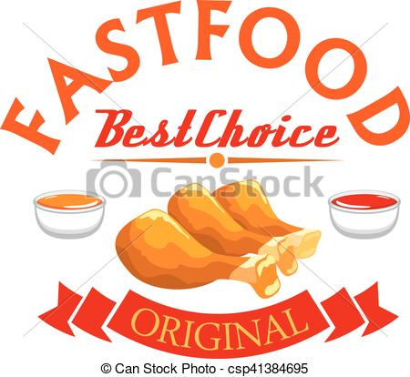 EPS Vectors of Fast food label. Crispy fried chicken legs with hot.