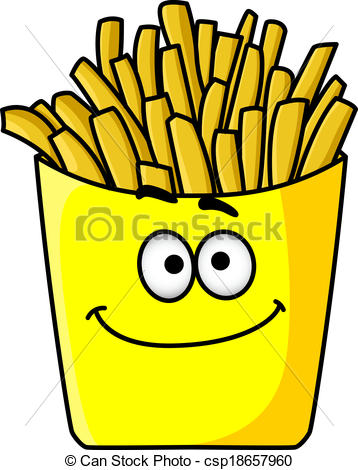 Clip Art Vector of Delicious golden crispy French fries in a.