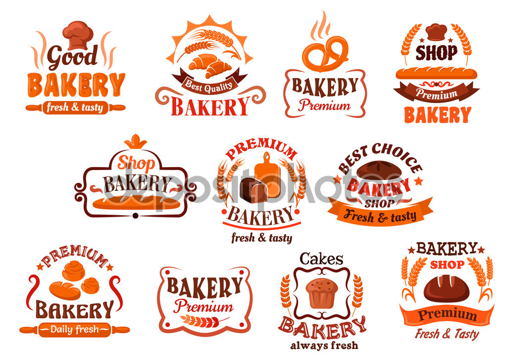 Bakery, pastry and cake shop symbols, retro style — Stock Vector.