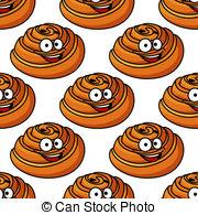 Vectors Illustration of Happy delicious cartoon sticky bun.