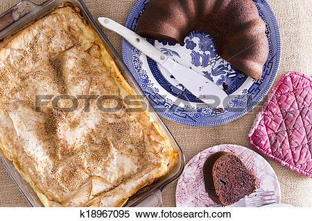 Stock Image of Fresh crispy borek pastry and chocolate cake.