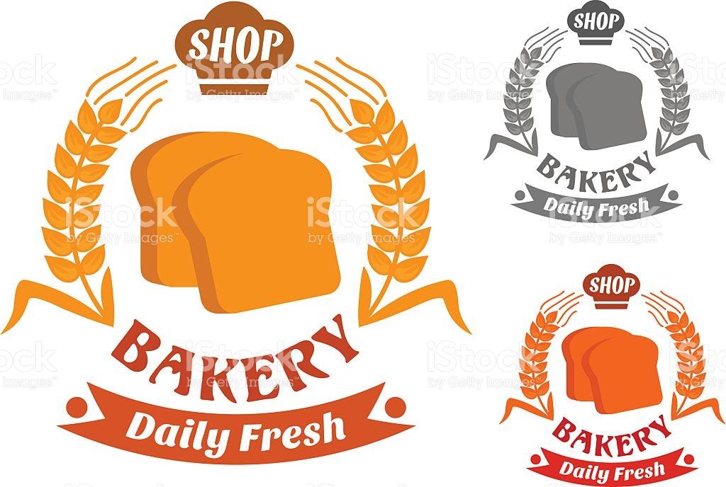 Bakery Shop Symbol With Golden Crispy Toasts stock vector art.
