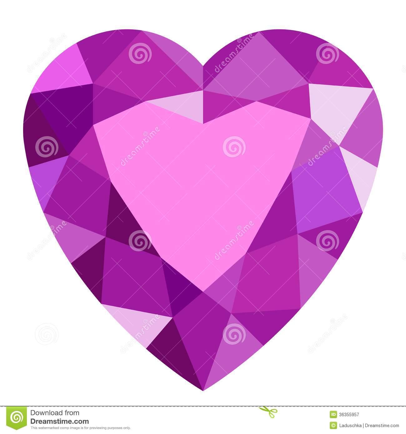 Crystal heart clipart.