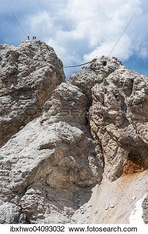 Stock Photo of Dibona Via Ferrata with suspension bridge.
