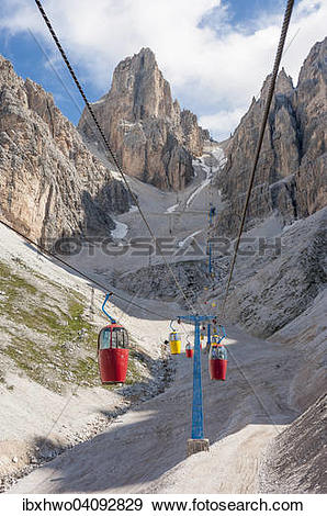 Stock Photograph of Colourful gondola lift, built in 1956, to.