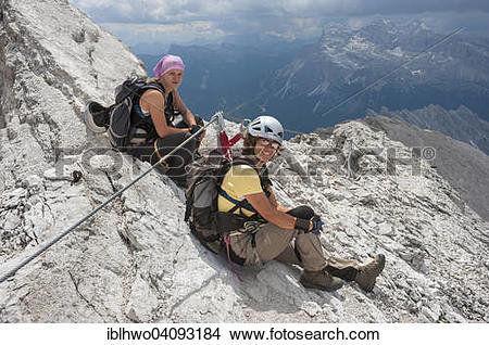 Stock Photo of Female mountaineers at the Dibona Via Ferrata.