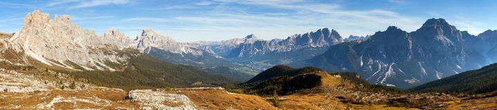 Cristallo Gruppe, Alps Dolomites Mountains Stock Photo.