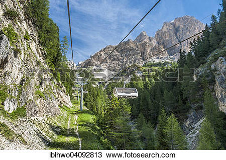 Stock Photo of Chairlift from Rio Gere in Val Begontina to the.