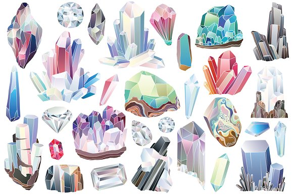 29 Crystals, Gems & Diamonds Clipart ~ Illustrations on Creative.