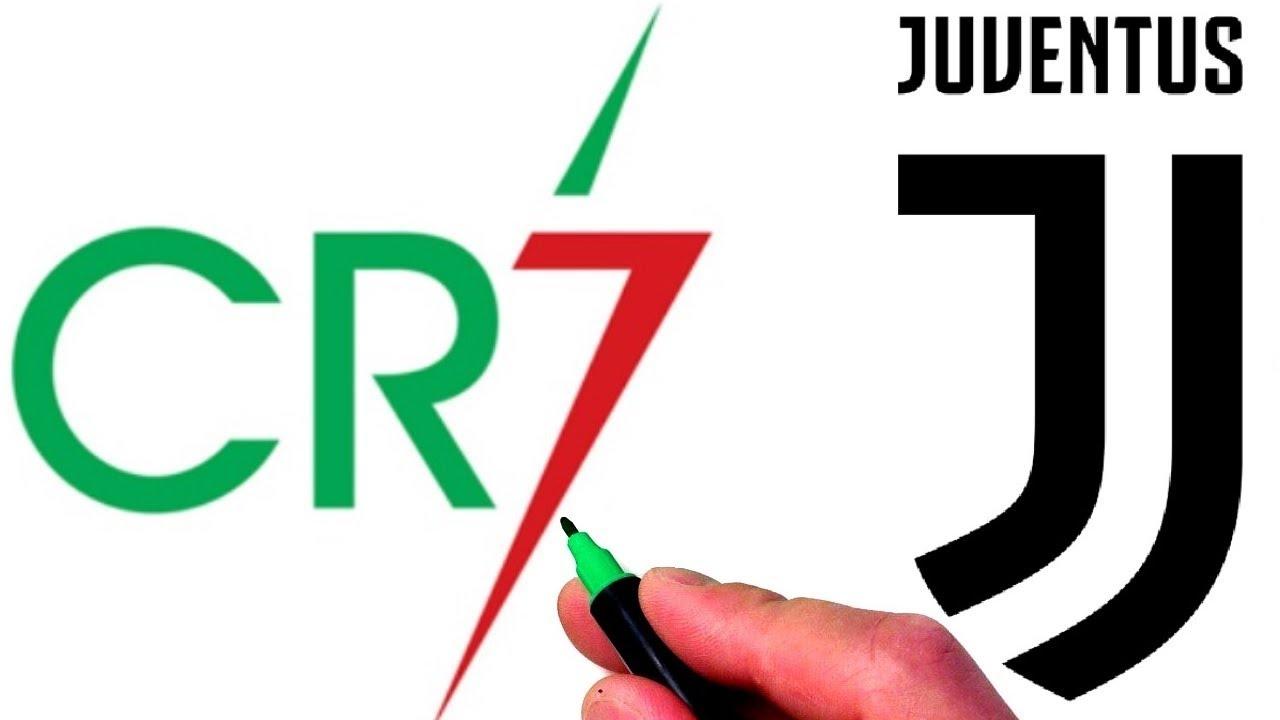 Drawing Cristiano Ronaldo CR7 and Juventus FC Logos.