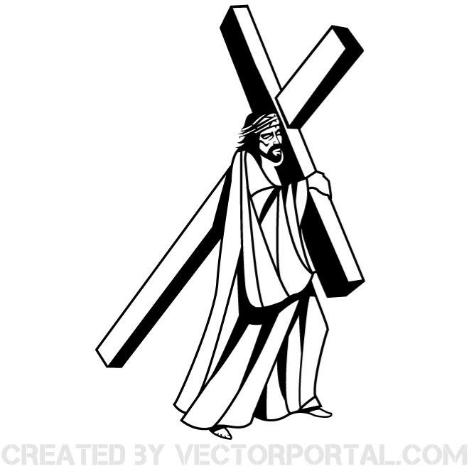 Free easter ribbon wrapped cross vector image download vectors.