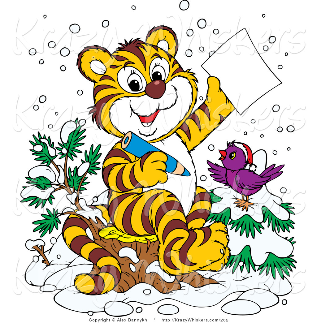 Critter Clipart of a Happy Purple Bird in the Snow, Wearing a.