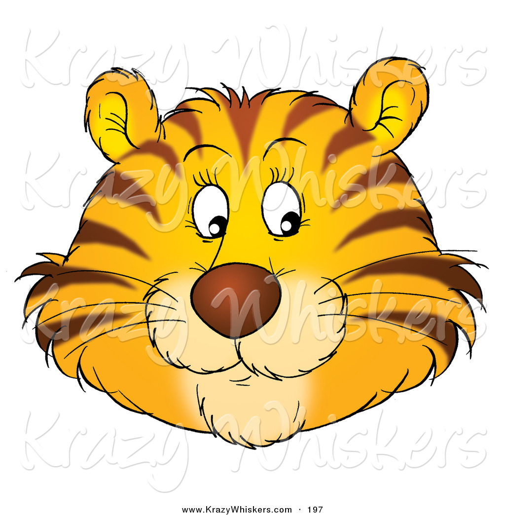 Critter Clipart of a Friendly Orange Tiger Face with Whiskers.