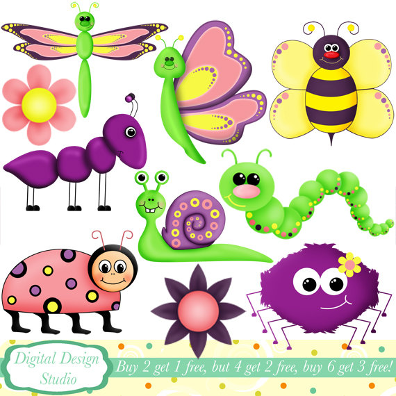 Cute critter bugs clip art set 10 designs. INSTANT DOWNLOAD by.