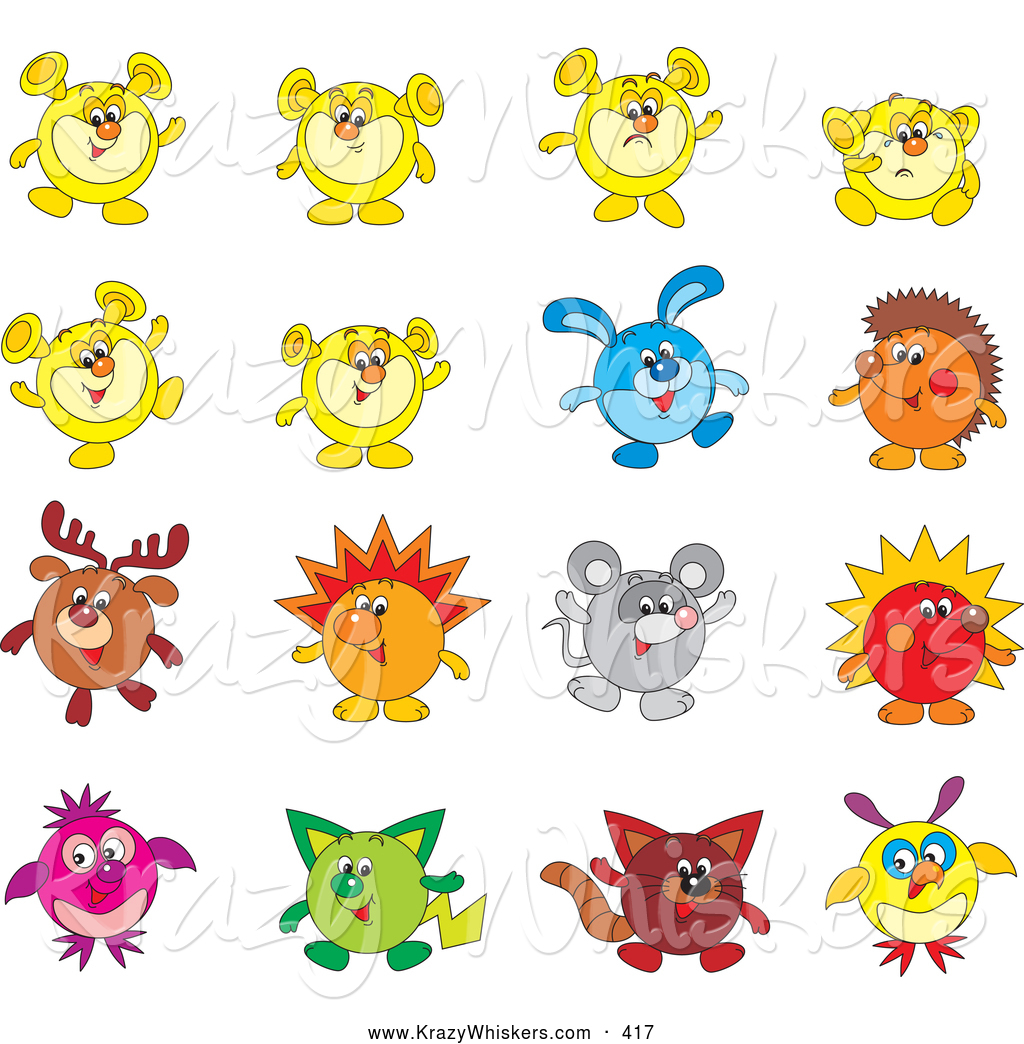 Critter Clipart of a Set of Sixteen Animal Characters Including a.