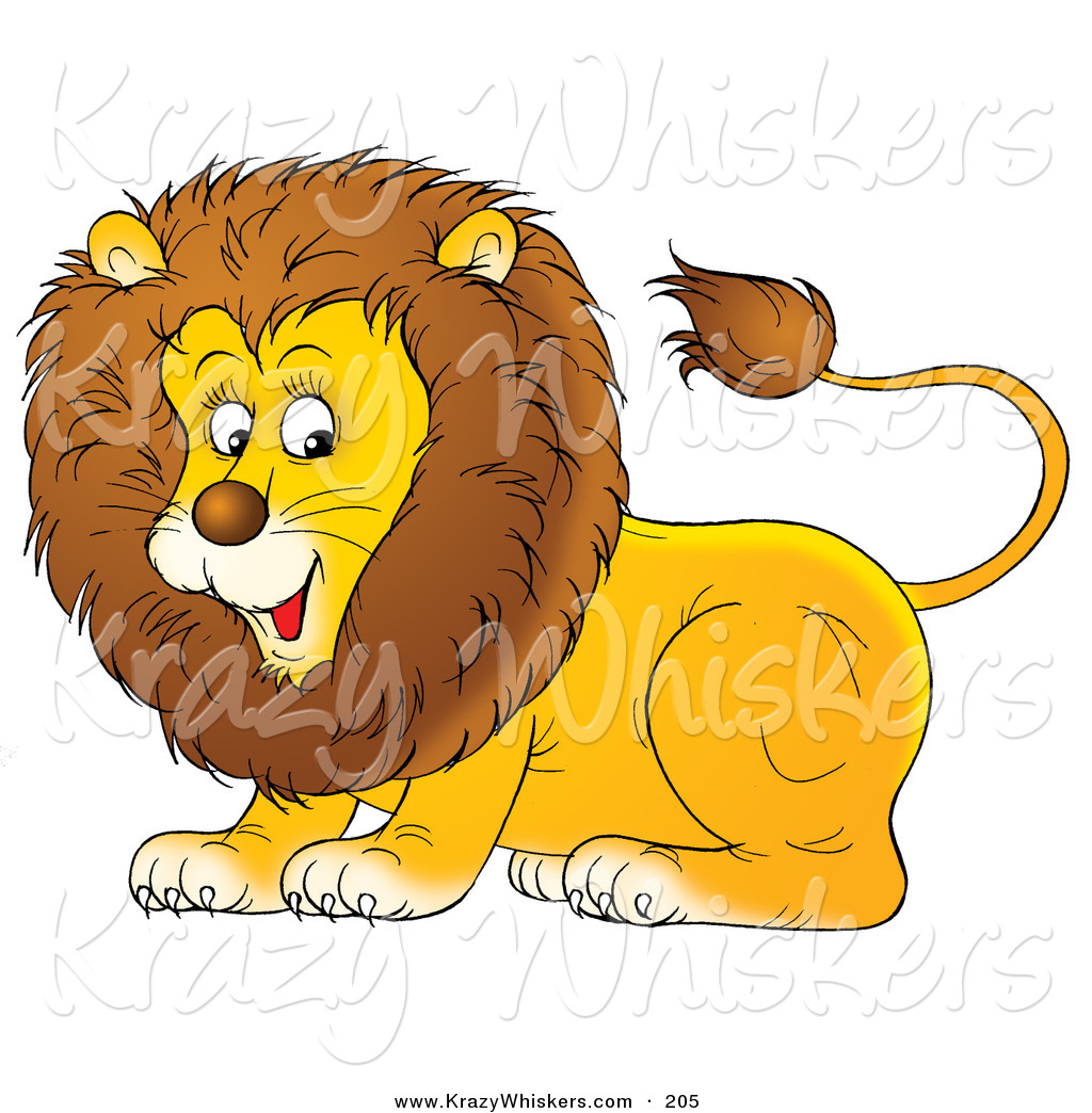 Critter Clipart of a Happy and Playful Young Male Lion with a.