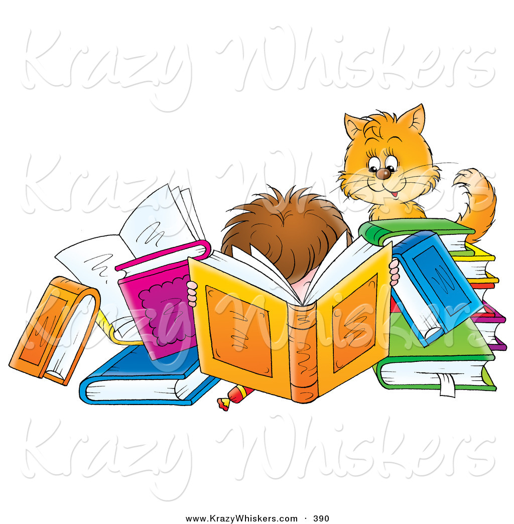 Critter Clipart Of A Cat Watching A Boy Reading A Book Amidst Many.