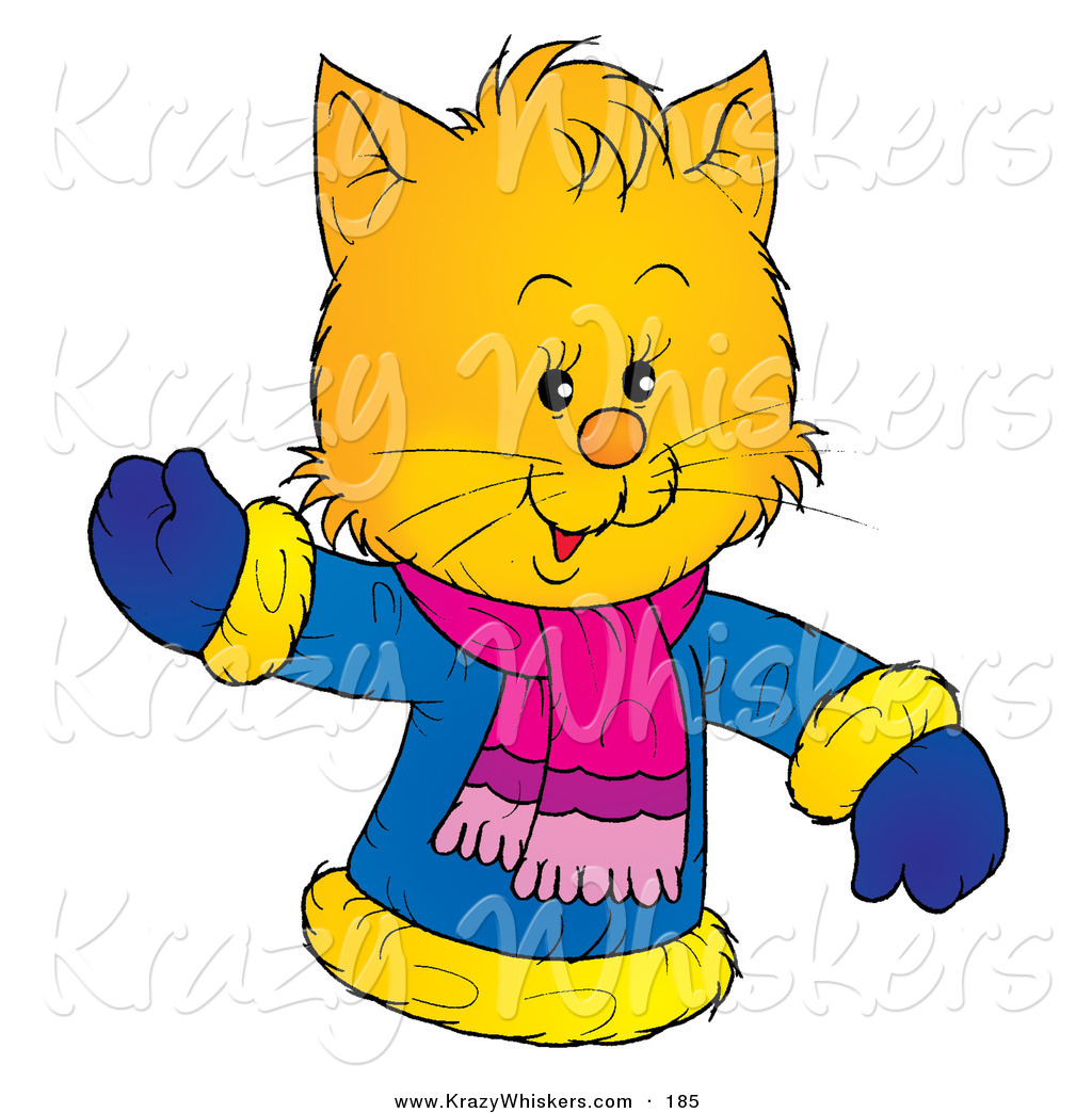 Critter Clipart of a Friendly Yellow Kitty Wearing a Winter Coat.