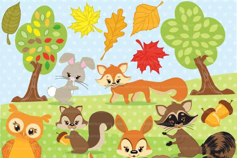Forest Critters Clipart AMB.