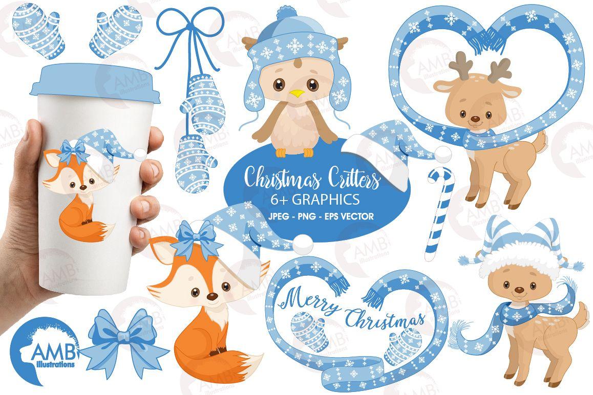 Christmas Critters, Christmas animals clipart, graphics, illustrations  AMB.