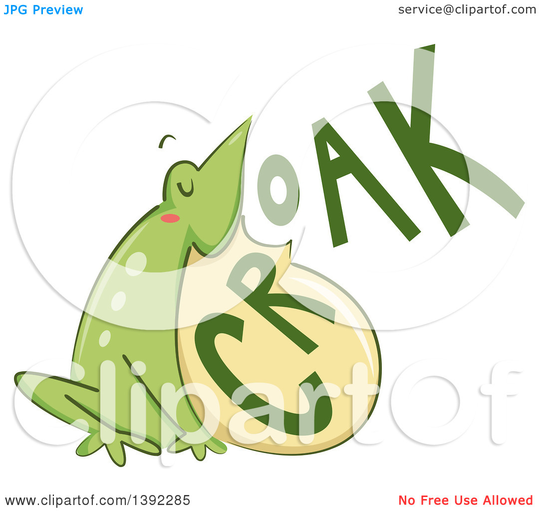 Clipart of a Croaking Bull Frog.