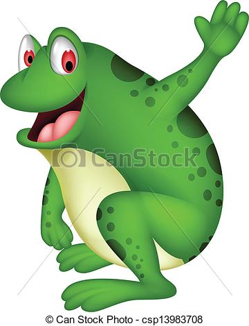 Vector Clipart of cute frog cartoon smiling.