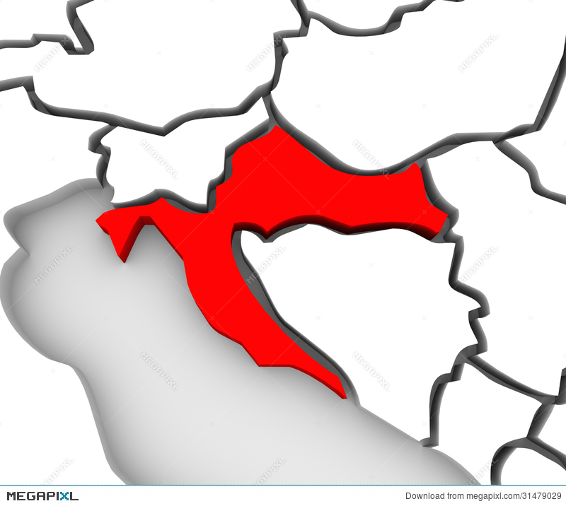 Croatia Country Abstract 3D Map Eastern Europe Illustration.