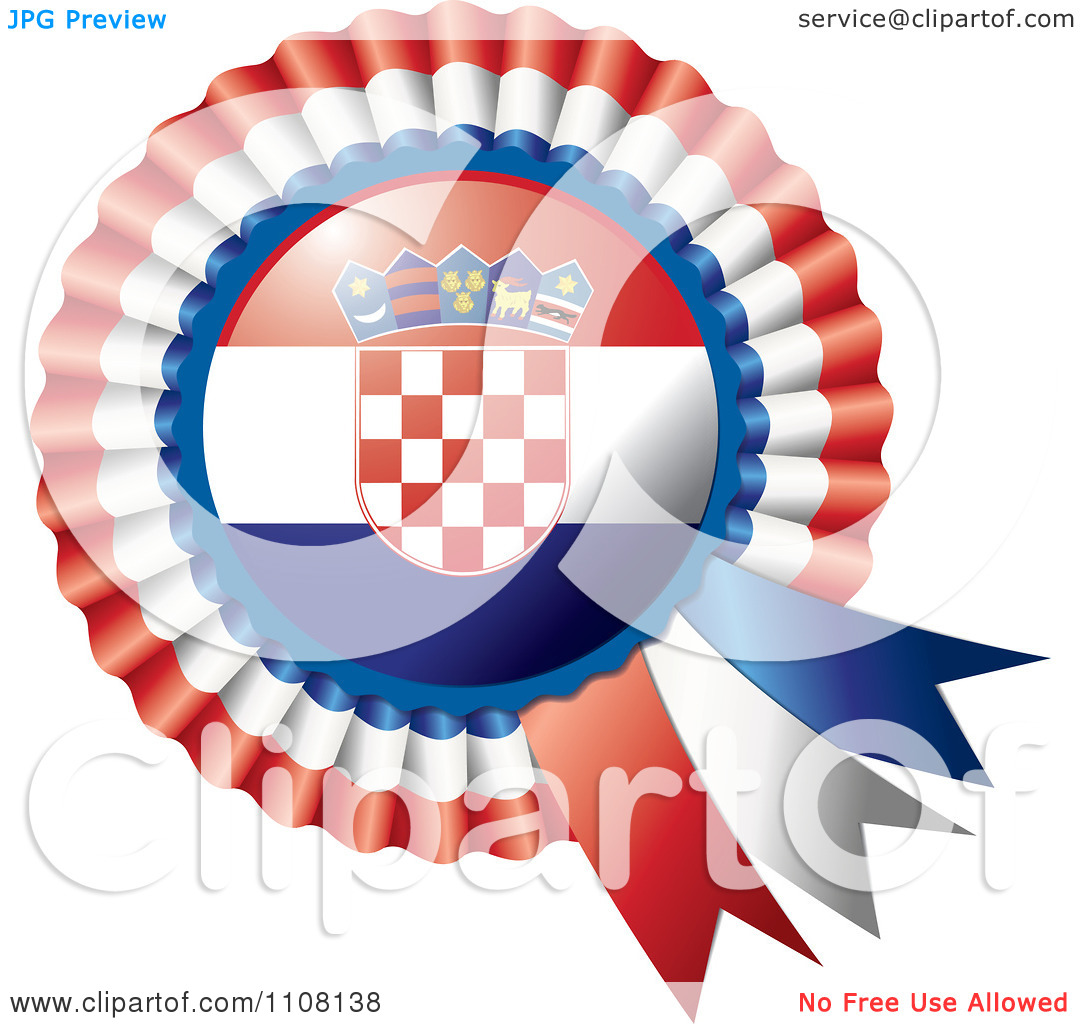 Clipart Shiny Croatian Flag Rosette Bowknots Medal Award.