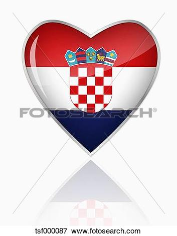Clip Art of Croatian flag in heart shape on white background.