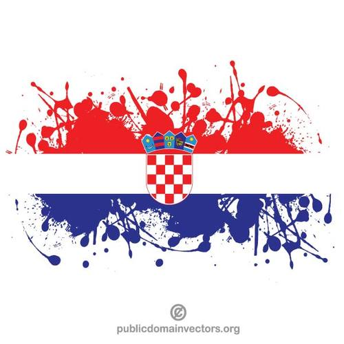 Flag of Croatia in ink spatter.
