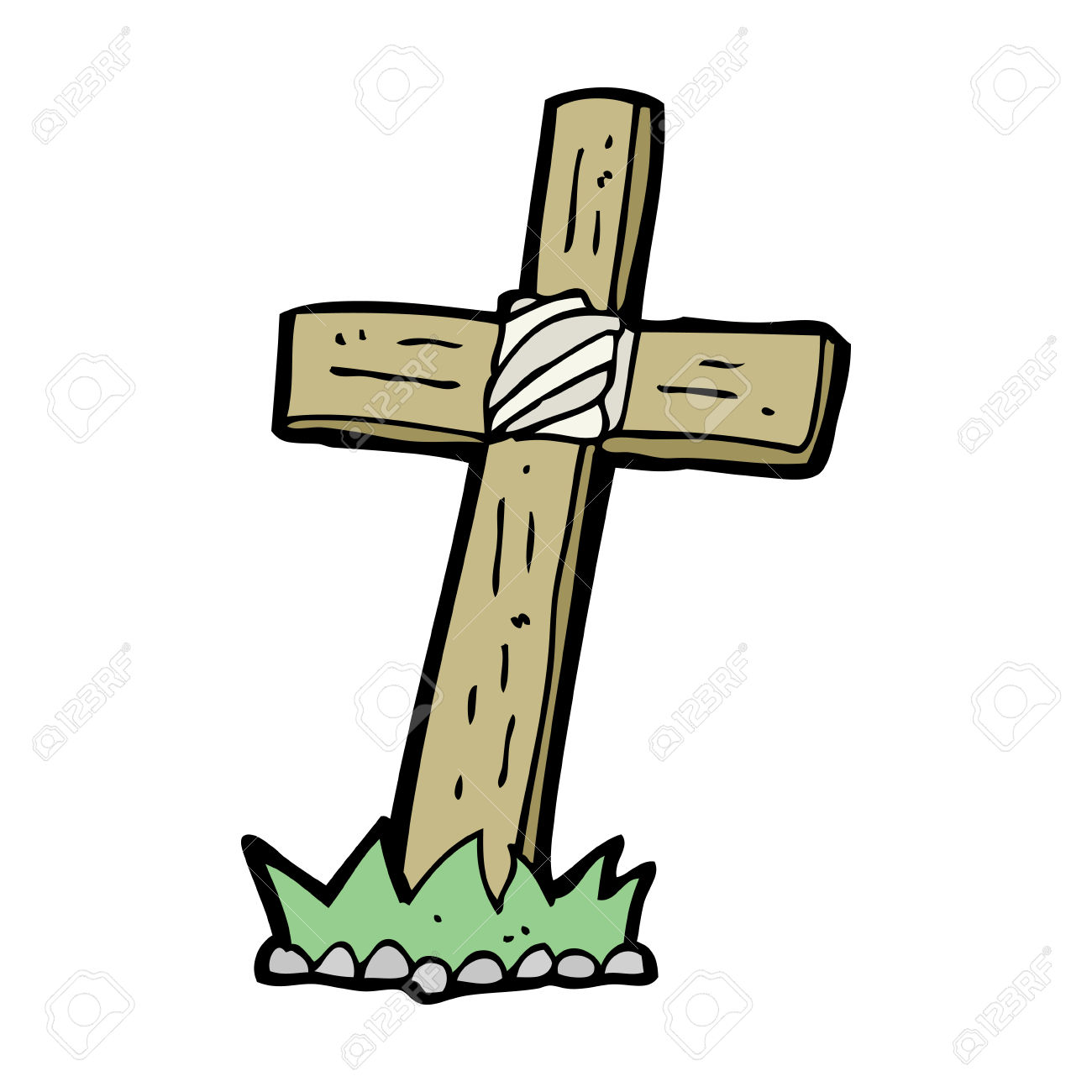 Cartoon Wooden Cross Grave Royalty Free Cliparts, Vectors, And.