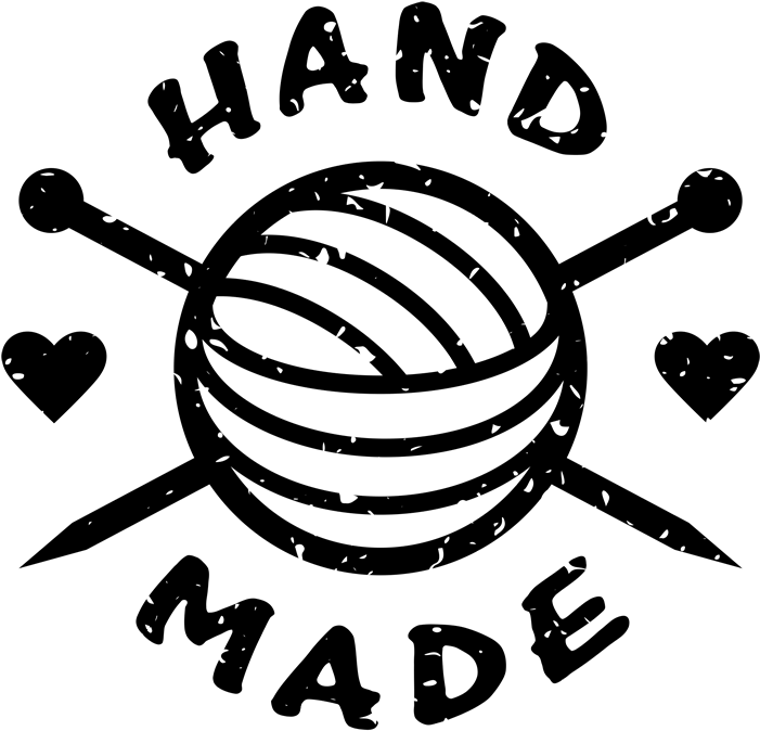 HD Handmade Rubber Stamp With Crochet Needles And Heart.