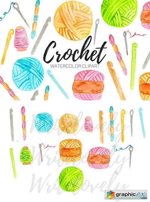 Watercolor Crochet Clipart » Free Download Vector Stock Image.