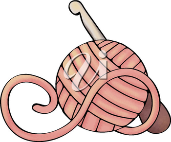 Royalty Free Clipart Image of a Crochet Hook and Ball of Yarn.