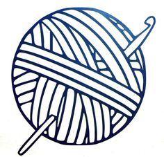 Yarn Ball With CROCHET HOOK vinyl decal.